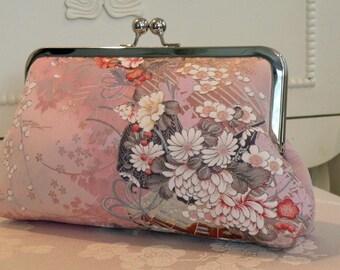 Silk Kimono Fabric Clutch/Purse/Bag..Bridesmaid/Wedding Gift..Cherry Blossoms..Asian fans..Bridal..Free Monogram