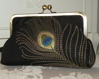 Embroidered Peacock Feather..Clutch/Purse/Bag..Bridal/Bridesmaid..Embossed Black Silk Kimono Fabric..Long Island Wedding Gift..Wrap Match