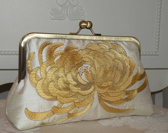 Embroidered Chrysanthemum Clutch/Purse/Bag..Honey Gold on Cream silk..Bridal Bridesmaid..Floral..Birthday/Prom Gift..Free Monogram..Wrap