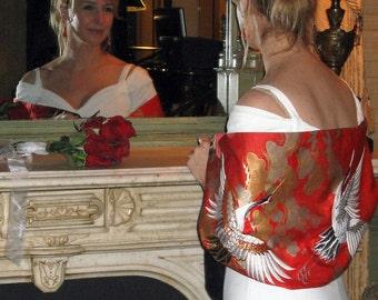 Handmade Silk Kimono Fabric Bridal Wrap/Shawl/Shrug/Long Island Wedding Gift/Embroidered Crane/Florals/Red/Ivory/Rhinestone/Clutch Bag Purse