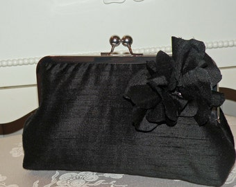Silk Dupioni Clutch/Purse/Bag..Florette..Black/Ivory/Red..Matching Hands Free Wrap..Free Monogram