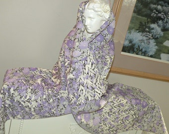 Silk Kimono Fabric  Scarf/Shawl/Wrap..Lavendar Cherry Blossoms..Matching Purse to order