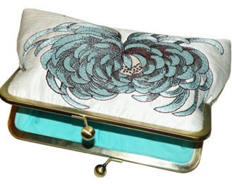 Chrysanthemum Clutch/Purse/Bag..Something Bridal Blue and Brown on Ivory Silk..Wedding Gift..Free Monogram
