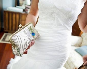 Handmade Bridal Peacock Feathers Custom Silk Clutch/Purse/Bag/Ivory/Something Blue/Blush/Long Island Bride Wedding Gift.Free Monogram