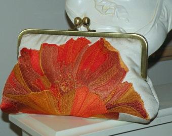 Oriental Poppy  Clutch/Purse/Bag ..Bridal/Wedding...Embroidered Silk...Sunset Orange/Gold..Black Red..Golden Brown