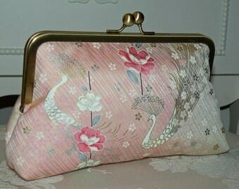 Peacock Clutch/Purse/Bag..Cherry Blossom..Chrysanthemum..Floral..Bridal Pink/Wedding..Bridesmaid Gift..Free Monogram..Silk Kimono..Wrap