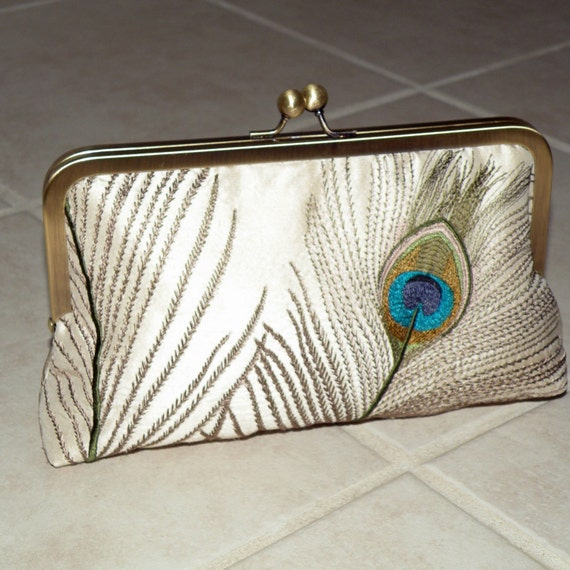 Peacock Feathers Embroidered Silk Clutch\/Purse Ivory and Teal \/ Chain and frame in antique gold