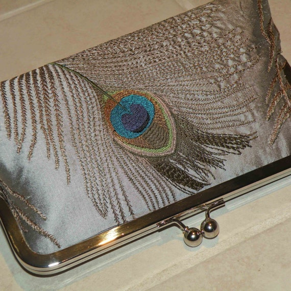 Peacock Feathers Embroidered Silk Clutch/Purse.. Silver...Breezy Navy lining..Seafoam and Gold