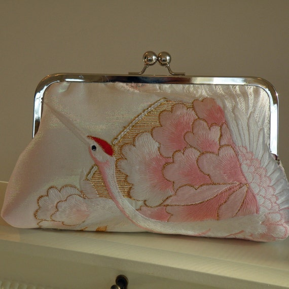 Silk Kimono Fabric Bag/Purse/Clutch..Embroidered Crane..Chrysanthemum..Long Island Bridal/Wedding Gift..Ivory/Pink..Free Monogram