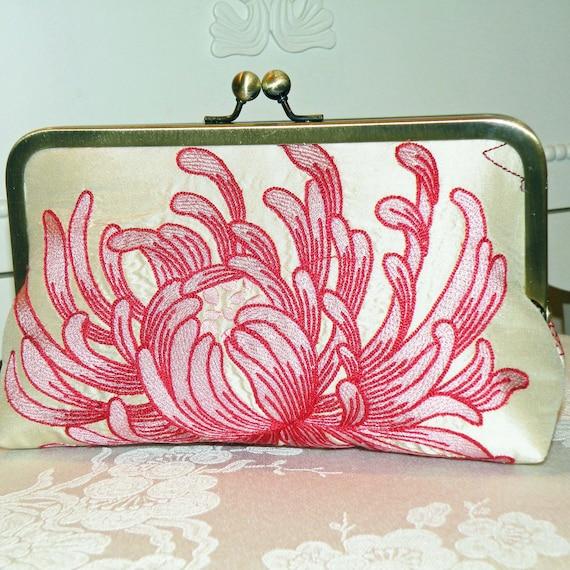 Silk Clutch Purse Bag....Embroidered Chrysanthemum...Bridal Pink..Wedding Gift..Free Monogram