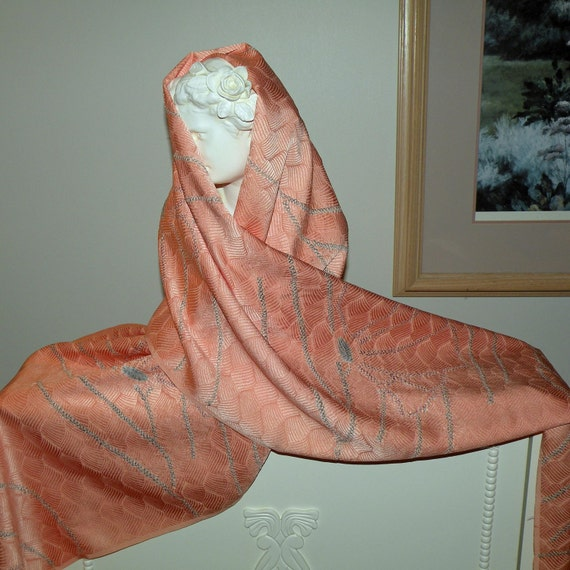 Silk Kimono Fabric  Scarf/Shawl/Wrap/Shrug..Bridal/Wedding Gift..Shibori dye..Peach..Butterfly..Clutch available