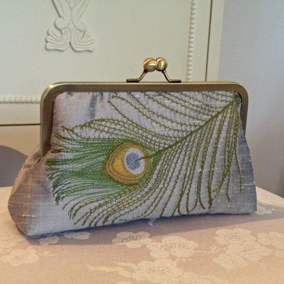 Clutch/Purse/Bag..Embroidered Peacock Feather..Silver Silk Fabric w/Gold