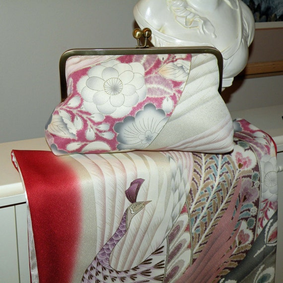Silk Kimono Fabric Peacock Purse/Clutch/Bag..Bridal/Wedding..Plumes..Cherry Blossoms..Florals..OOAK..Wrap/Shawl available..Free Monogram