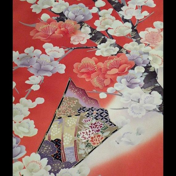 Silk Kimono  Scarf/Shawl/Wrap/Schal ..Cherry Blossoms..Folding Fans..see clutch..Last one..Bridal
