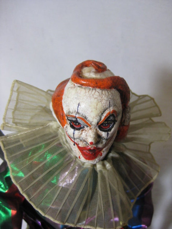 Tordu the Clown Doll Creepy Scary ooak Horror Goth Hand Sculpted doll SALE FREE SHIPPING