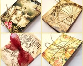 assorted mini art cards ... set of 72 ... french parisian, americana, vintage images and text ... altered art supplies or mini notecards