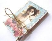 parisian mini art cards ... set of 48 ... eiffel tower, flowers, text, pink, blue, bingo ... art supplies or mini notes
