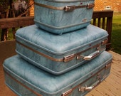Vintage American Tourister Blue Three Piece Luggage Set