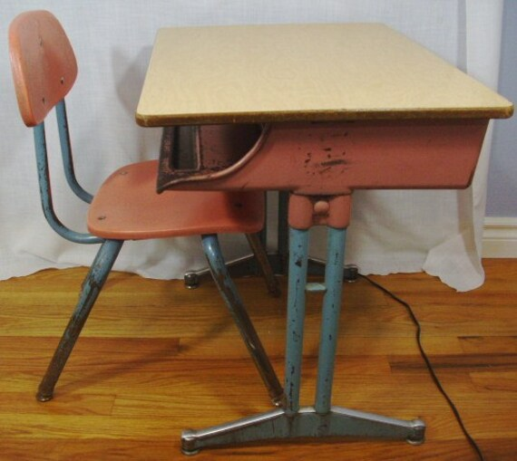 Vintage American Seating School Desk and Chair