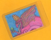 "ACEO original, Fantasy, Dragon, Fairy, collectable, bright raspberry, yellow, turquoise, green, ""Audience with a Dragon Royal"""