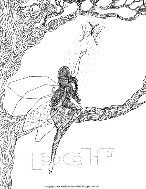Items Similar To Fantasy Coloring Page Printable Intricate Princess Coloring Pages Free Coloring Sheets