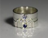 Ring Stack Size 7 (Sapphire, Cz, Aquamarine)