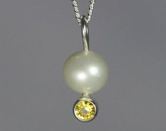 Pearl Drop Neck w-Stone (Citrine)
