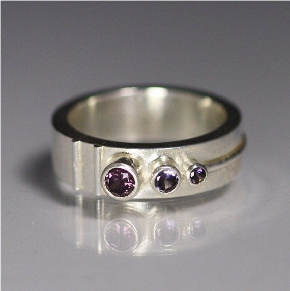 3 Stone Sequence Ring (Amethyst) (Made to Order)