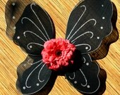 Black Butterfly Wings with Red Dahlia - myuberlicious