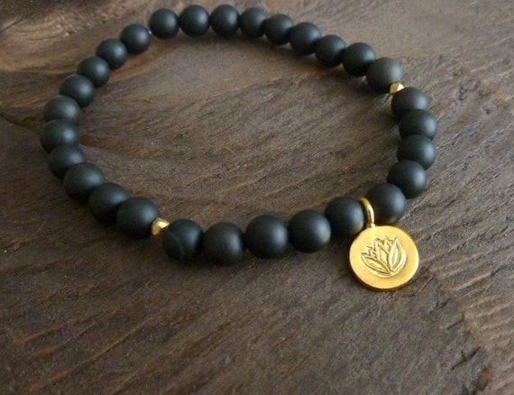 Grounding Matte Onyx Mala Bracelet - Golden Lotus Bracelet, Yoga, Buddhist, Prayer Beads, Lotus, Eat Pray Love