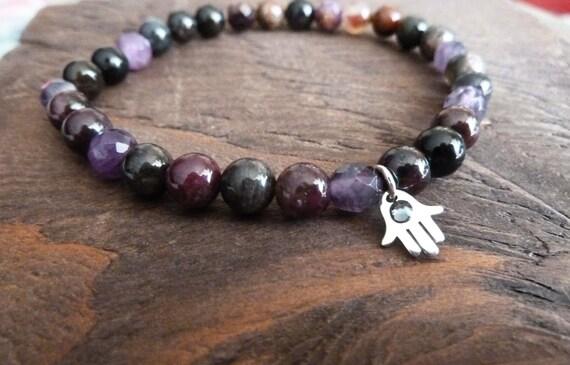 Aura Cleanse Mala Bracelet - Hamsa Hand, Reiki, Layering Bracelet, Meditation, Earthy Bracelet, Yoga Jewlery, Bohemian, Beachy, Charm