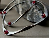 antiqued sterling silver hoop earring with faceted ruby beads illusion Reserved for Mint