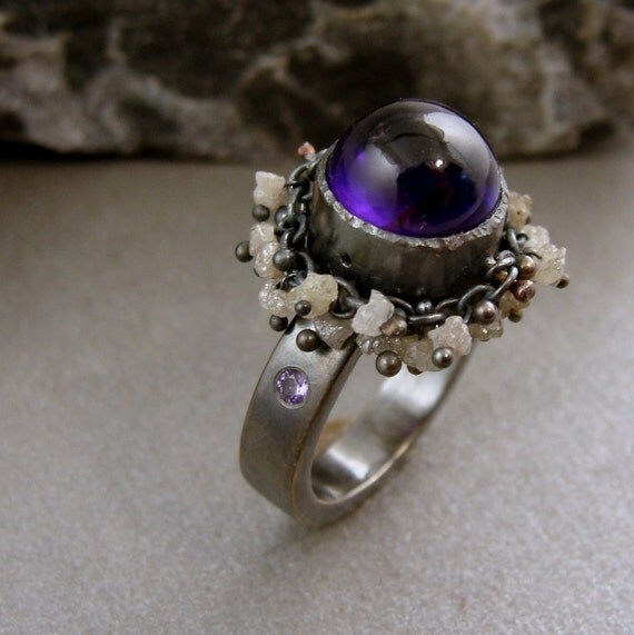 amethyst ring with raw diamond fringe ...Reserved listing...