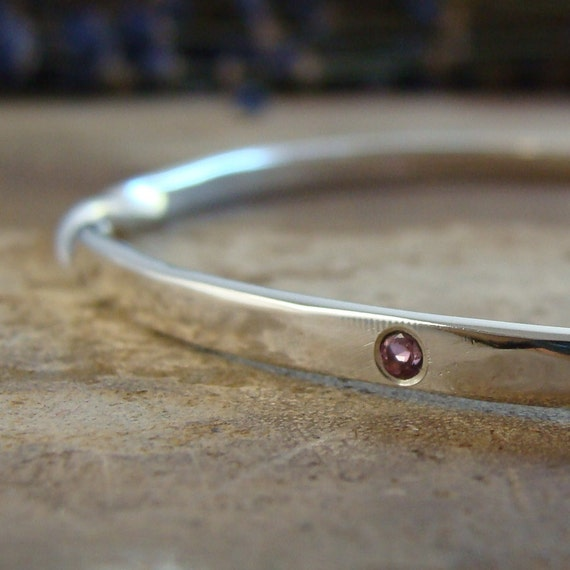 bangle bracelet silver: twisted sterling silver bangle with gypsy set pink tourmaline