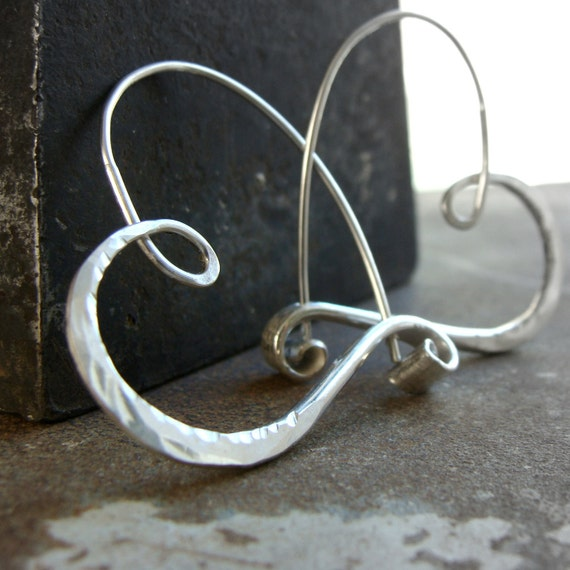 sterling silver heart hoops flat hammered  endless style petites