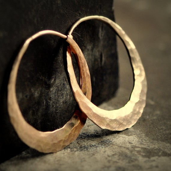 solid 14k gold hoops 1 inch endless style hammered