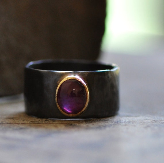 red ruby ring with 18k gold bezel and dark sterling silver band Reserved listing for Paula