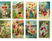 Vintage Valentines Digital Collage Sheets Cupids Blue Flowers Red Hearts C 103 Two Sheets