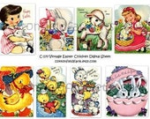 Retro Easter Children and Animals Digital Collage Sheet C-177 for Tags, Scrapbooking, Journaling Spots, Cardmaking
