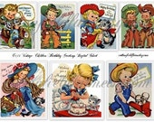 Vintage Children Birthday Greetings Digital Collage Sheet C-173 for Tags, Cards, Scrapbooking, Gifts, Notes, Decoupage
