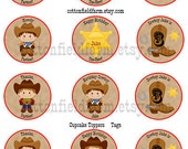 Cowboys Mod Personalized 2 Inch Circles Digital Sheet C-240 Cupcake Toppers, Tags, Scrapbooking