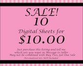 SALE  10 Digital Sheet Sets for 10.00 Your Choice Digital Downloads for Scrapbooking, Card Making, Tags, Birthdays, Weddings, Showers