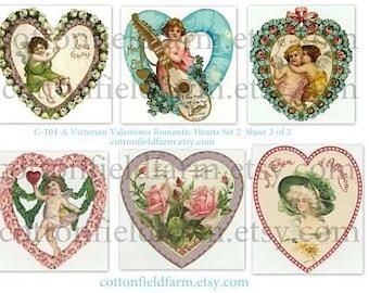 Victorian Valentines Romantic Hearts Set 2 C-104-A Digital Collage 2 Sheets