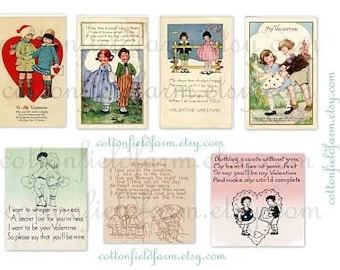 Vintage Valentine Children 1920s to 1940s Cards and Poems Digital Sheets C-107 Set of 2