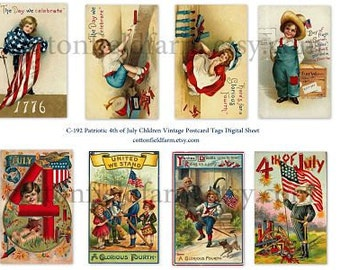 Fourth of July Vintage Postcards Children Patriotic Tags C-192 Digital Sheet for Tags, Scrapbooking