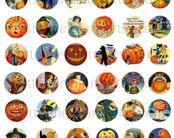 Vintage Halloween One Inch Circles Digital Sheet C-225  Set A for Bottlecaps, Glass Domes, Buttons, Hair Bow