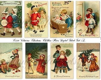 Victorian Christmas Children Digital Sheet C-228 for Cards, Tags, Scrapbooking