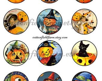 Vintage Halloween 2 Inch Circles Cupcake Toppers Tags Digital Sheet C-235 Scrapbooking Frosting Prints