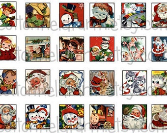 Retro Christmas Children, Santas, Snowmen & More 1 Inch Squares Digital Sheet C-249 Set A for scrabble and glass tiles, hair bows