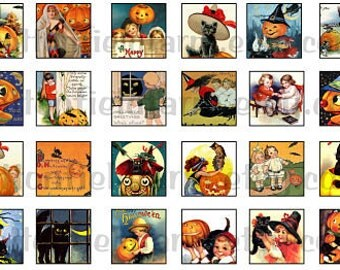 Vintage Halloween 1 Inch Squares Digital Sheet C-258 Set B for Scrabble Tiles, Glass Tiles, Tags, Scrapbooking
